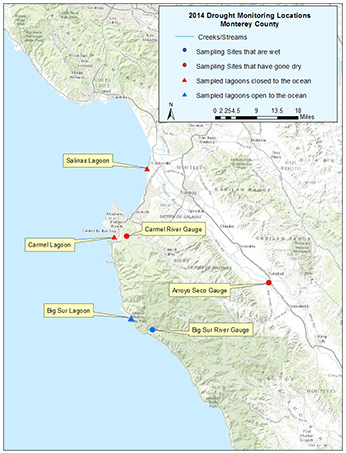 Drought monitoring locations in Monterey County in 2014