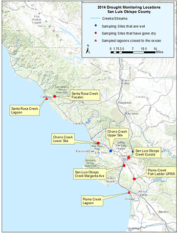 Drought monitoring locations in San Luis Obispo County in 2014.