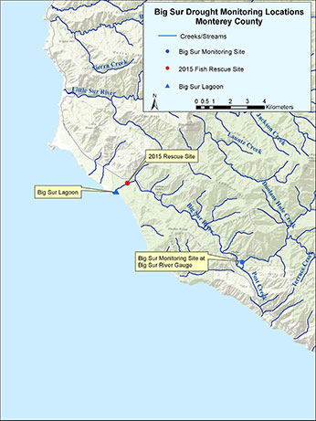 Map of drought monitoring locations on the Big Sur River – Click to enlarge image in new window.