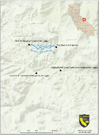 Map depicting locations of temperature loggers and the survey reach in North Fork Cottonwood Creek.