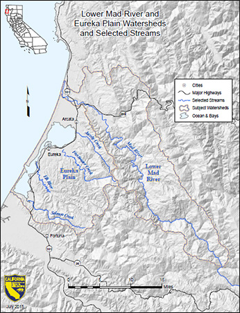 Lower Mad River and Eureka Plain watersheds and selected streams