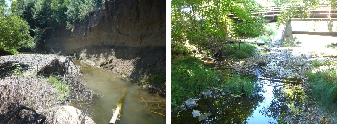 Figure 3. Two photographs of the study reaches on Mark West Creek. The left picture depicts a pool on the lower reach during low flows, which has steep, highly eroded banks. The right photograph depicts a riffle on the upper reach during low flows. This reach has gradually sloping banks.