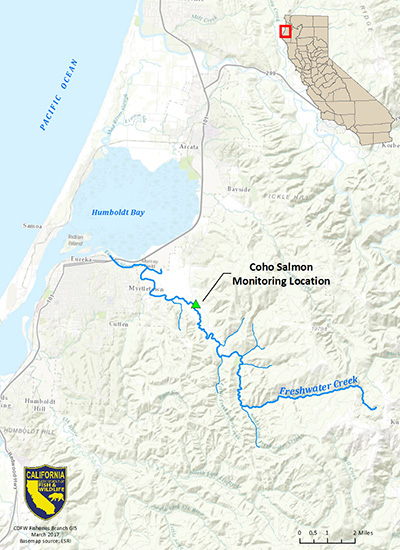 Map showing location of Coho Salmon monitoring station on Freshwater Creek, Humboldt County, CA - link opens in new window