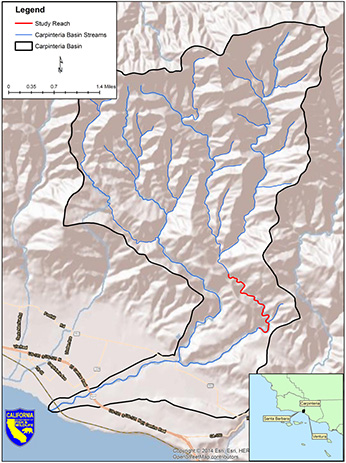 Map of Gobernador Creek, with the Carpenteria Creek watershed.  Study area is highlighted in red.