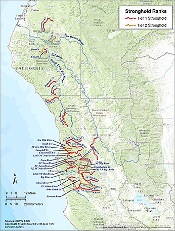 Figure 2. Map of stronghold coho salmon streams monitored in southern Humboldt and Mendocino Counties.  PSMFC Sharon Powers.