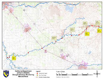 Lower Merced River Drought Stressor Monitoring Map - Click to enlarge image in new window