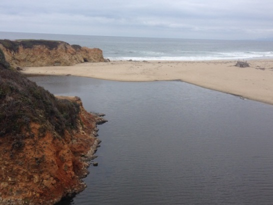 Figure 3B.  The mouth of Pescadero Creek when it is closed, forming a bar-built lagoon.  (Photo: CDFW)