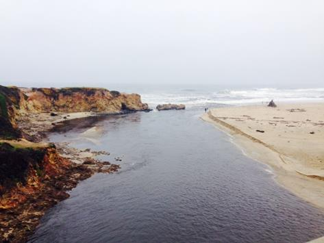 Figure 3A.  The mouth of Pescadero Creek when it is (A) open to the ocean.  (Photo: CDFW)