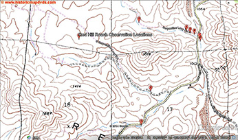 USGS TOPO map of Red Hills roach observation locations. Most of the intermittent blue-line drainages were surveyed