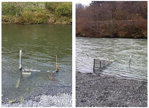 Photographs of the sonar camera setup in Redwood Creek, Humboldt County, CA. The camera is housed in an aluminum box  near the bank of the river, with a metal fence downstream to prevent fish from passing behind the camera.