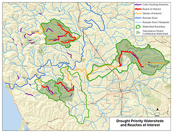 2015 Russian River Coho Affected Area map