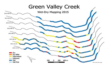 Map of wet-dry reaches on Green Valley Creek - Click to enlarge image in new window