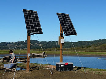 solar panels, power supply, and data loggers
