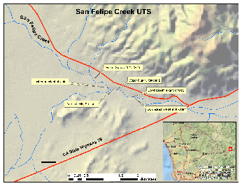 Map depicting of upstream and downstream extent of wetted habitat, unarmored threespine stickleback sightings, water quality monitoring stations, and survey extent at San Felipe Creek, San Diego County.