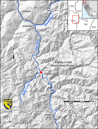 map showing location of Supply Creek restoration project