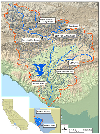 Ventura River basin and monitored tributaries - Click to enlarge image in new window