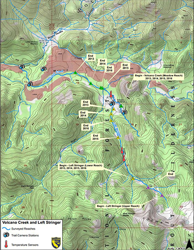 Map depicting observed wetted stream lengths, digital trail cameras and temperature sensor locations in Volcanic Creek and Left Stringer, Tulare County, CA - link opens in new window.