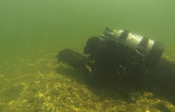 CDFW diver with hand-held sonar - link opens video in new window