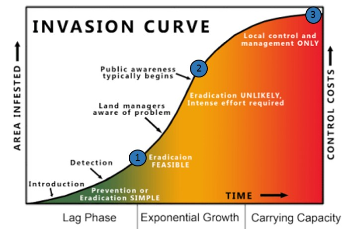 Exponential growth curve graphic showing area infested and cost increasing over time