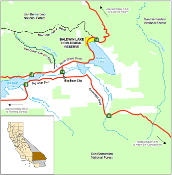 Map of Baldwin Lake ER - click to enlarge in new window