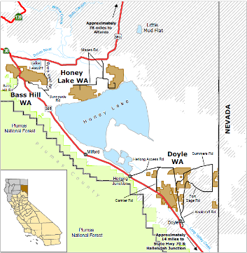 map of Honey Lake WA - click to enlarge in new window