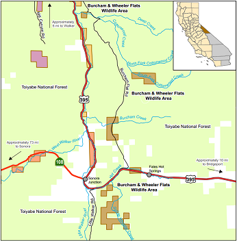 Map of Burcham and Wheeler Flats WA - click to enlarge in new window
