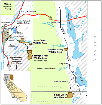 Map of Surprise Valley WA location - click to enlarge in new window