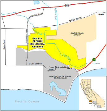 map of Goleta Slough Ecological Reserve - click to enlarge in new window