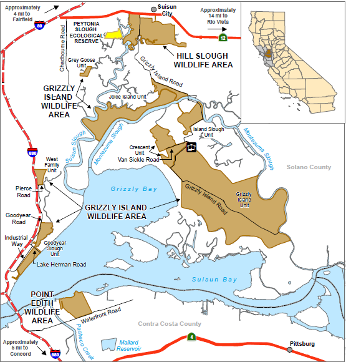 Map of Grizzly Island WA - click to enlarge in new window