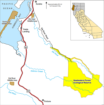 Map of Headwaters Forest ER - click to enlarge in new window