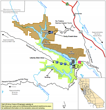map of Lake Sonoma WA - click to enlarge in new window