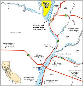 Map of Miner Slough Wildlife Area - click to enlarge in new window