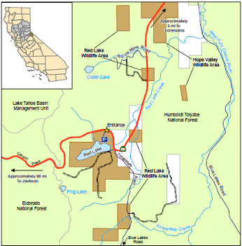 Red Lake Wildlife Area - Lakes in california map
