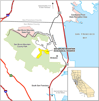Map of San Bruno Mountain ER location - click to enlarge in new window