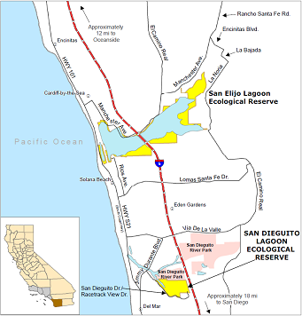 Map of San Dieguito Lagoon ER location - click to enlarge in new window