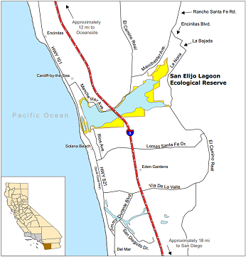 Map of San Elijo Lagoon ER location - click to enlarge in new window