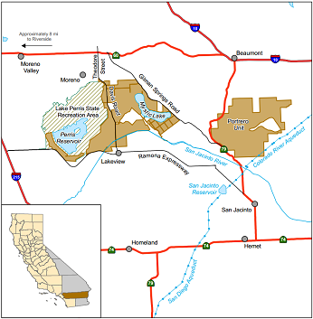 Map of San Jacinto WA location - click to enlarge in new window