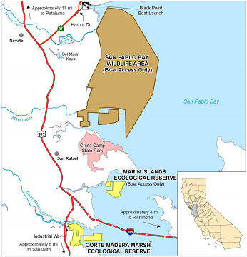 Map of San Pablo Bay WA location - click to enlarge in new window