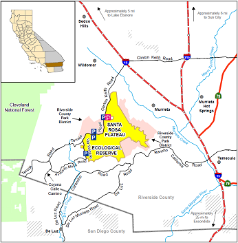 Map of Santa Rosa Plateau ER location - click to enlarge in new window