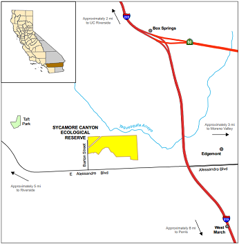 Map of Sycamore Canyon ER location - click to enlarge in new window