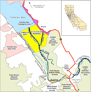 Map of Tomales Bay ER location - click to enlarge in new window