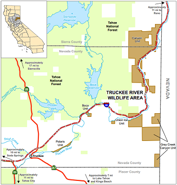 Map of Truckee River WA location - click to enlarge in new window