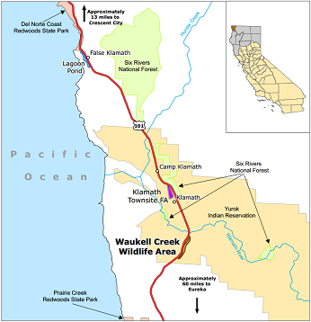 Map of Waukell Creek WA location - click to enlarge in new window