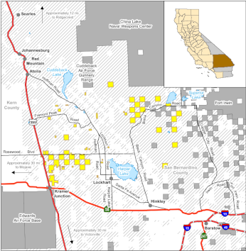 Map of West Mojave Desert Ecological Reserve location - click to enlarge in new window