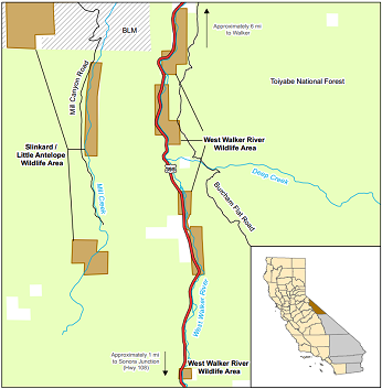 Map of West Walker River WA location - click to enlarge in new window
