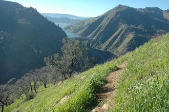 view of ridge trail at Putah Creek WA, with Lake Berryessa in the distance