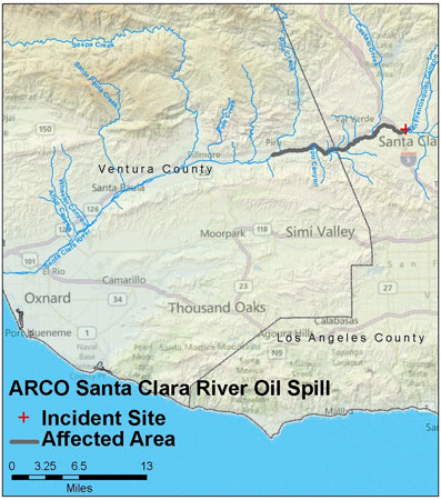 Graphic California map showing the locations of Arco / Santa Clara spill