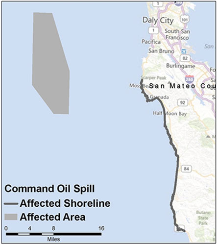 Graphic California map showing the locations of Command spill