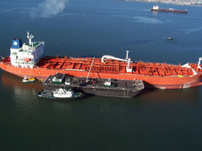 Aerial shot of an oil tanker