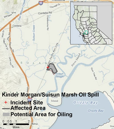 Graphic California map showing the locations of Kinder Morgan spill